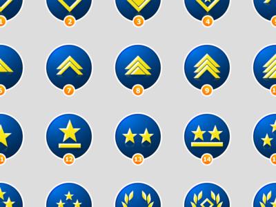 Rank Badges badges blue military vector sketch