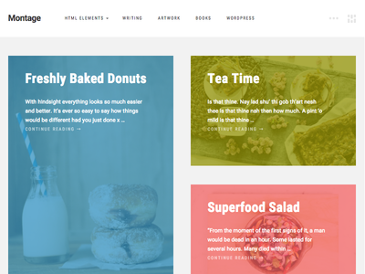 Montage - WordPress Photography Theme Homepage masonry colourful theme blog wordpress
