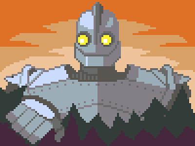 The Iron Giant robot cartoon pixels pixel art pixel dailies