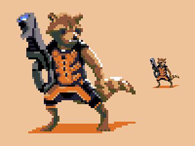 Rocket Raccoon marvel pixel dailies pixels pixel art rocket raccoon