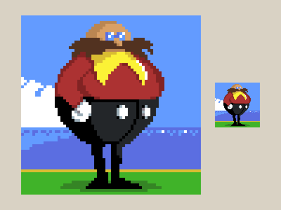 Dr Robotnik (Eggman) pixel dailies eggman robotnik sonic pixels pixel art