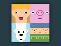 Bloxeter portraits faces colourful pixels pixel art neonmob