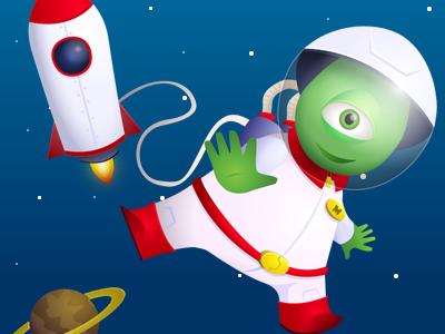 Space Alien alien green mascot cartoon vector