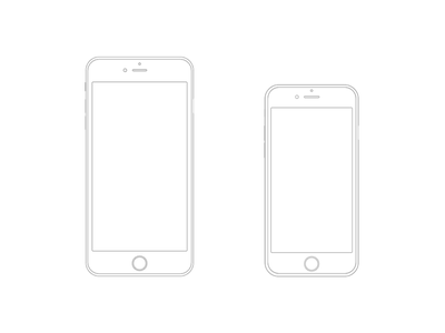 iPhone 6 Plus  and iPhone 6 Wireframe apple iphone freebie sketch wireframe