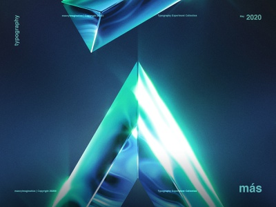 A | Typography Experiment trends 2020 trend 2020 design graphic aqua blue experiment glow green a mas photoshop shine text typogaphy