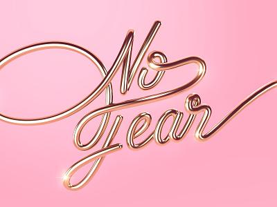 No Fear | 3D Lettering experiment photoshop cinema 4d love design trends design text monoline shine pink gold no fear lettering
