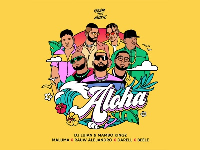 Aloha | Single Cover | Illustration maney imagination aloha single cover illustration malum belle dj luian hear this music latin music digital illustration design