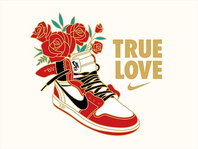 True Love | Nike maney imagination black sneakers vector off white roses red gold air jordan one adobe illustrator illustration nike love true