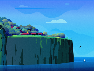 Hidden sea stone bird house grass sky cloud people mountain tree illustration design