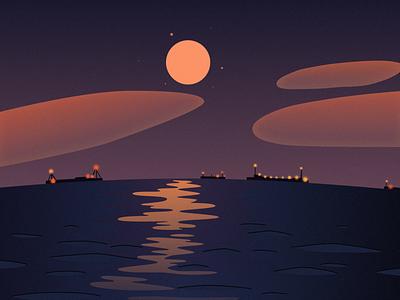 On The Sea star moon sea ferry cloud sky people illustration