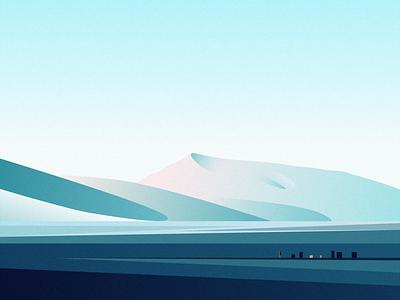 COOL snow sky mountain people illustration