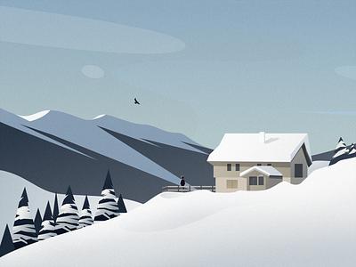My World Is Snowing snow house bird sky cloud mountain tree people design illustration