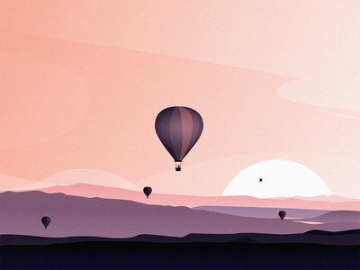 Hot Air Balloon sun bird mountain sky cloud people hot air balloon illustration