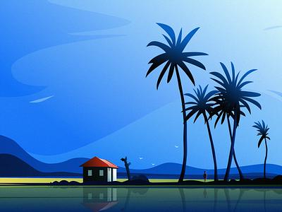 Coconut Tree bird house grass sky cloud tree mountain people design illustration