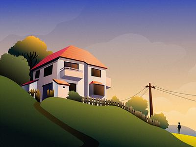 Dream House people house grass sky cloud tree mountain design illustration