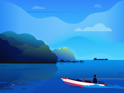 BOAT boat sea house grass sky cloud tree mountain people design illustration