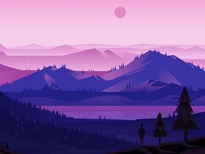 Beautiful Sunset illustration design ui