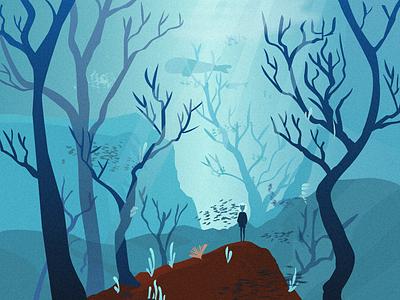 Dream underwater people light mountain whale fish school coral sea water tree illustration design ui