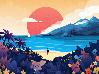 Sunset Beach grass flower sailboat sea beach sun sky cloud people tree mountain illustration design