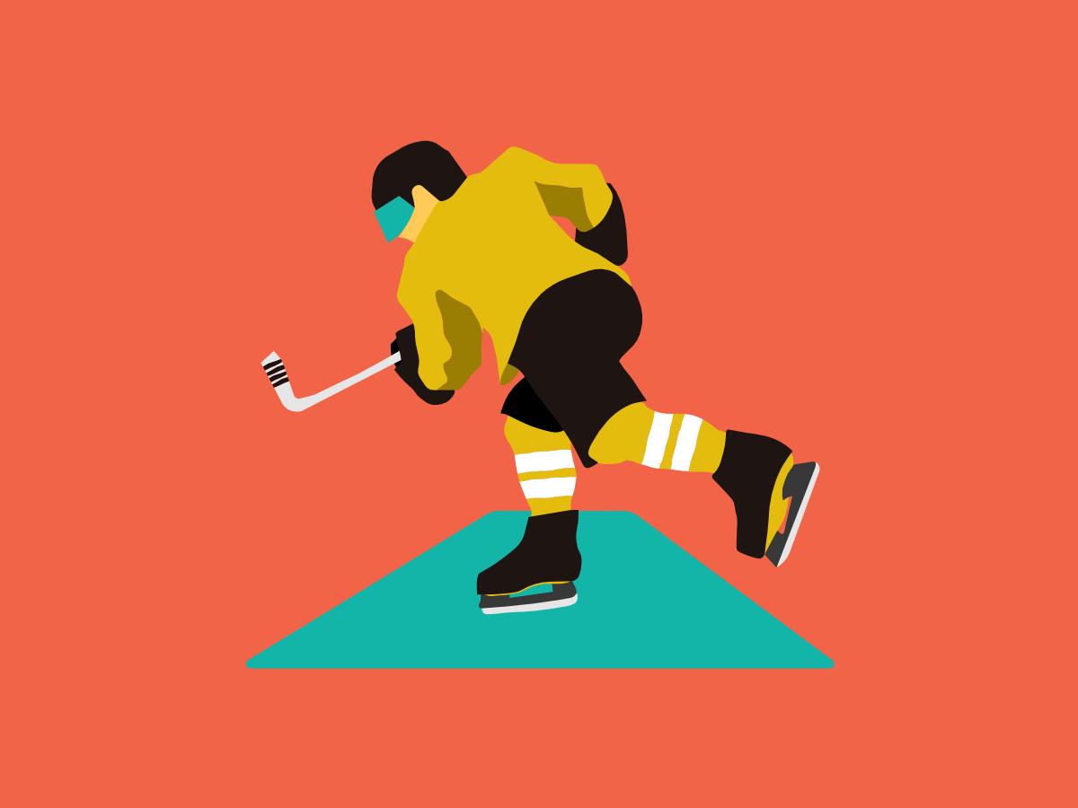 Hockey player illustration flat vector design