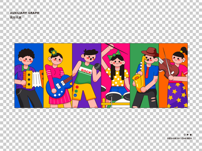 Music party-11 logo sticker people dribbble cute art design illustration
