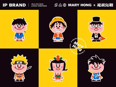 MARY HONG-01 sticker people dribbble cute art design illustration