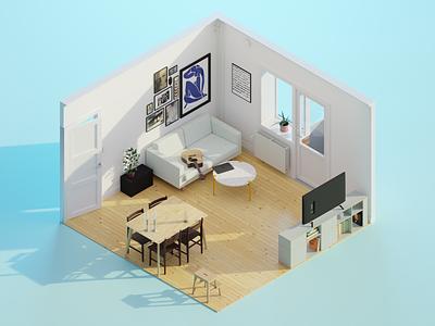 My Living Room 3d model coronavirus render isometric art isometric illustration blender 3d diorama