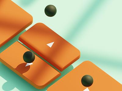 Pixel Pushing All Day Long summer waves keys after effects composition animation design 3d model illustration isometric blender 3d