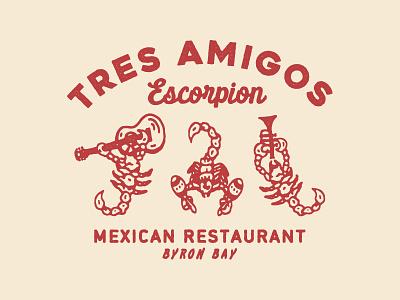 Tres Amigos Escorpion vector appareldesign illust type direction artwork art vintage packagedesign graphicdesign logo typography lettering branding graphic design illustration