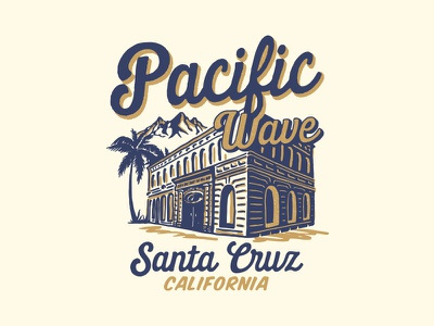 Pacific Wave surfing surf appareldesign packaging type illust direction artwork art vintage packagedesign graphicdesign logo typography lettering branding graphic design illustration