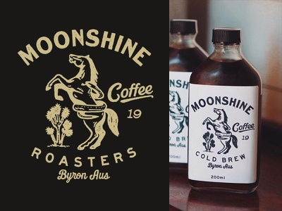 Moonshine Coffee Roasters packaging type illust direction artwork art vintage packagedesign graphicdesign logo typography lettering branding graphic design illustration