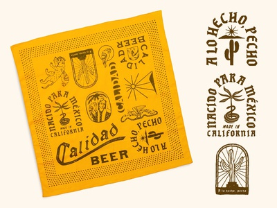 Calidad Beer, CA packaging oriental illust direction artwork art vintage packagedesign graphicdesign logo typography lettering branding graphic design illustration