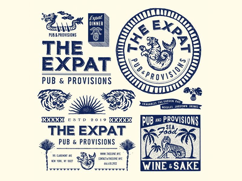 The Expat, NY vintage typography packaging packagedesign oriental logo lettering illustration illust graphicdesign graphic direction design branding artwork art