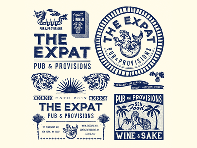 The Expat, NY vintage typography packaging packagedesign oriental logo lettering illustration illust graphicdesign graphic direction design branding artwork art