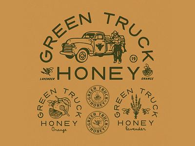 Green Truck Honey vintage typography type packaging packagedesign logo lettering illustration illust graphicdesign graphic direction design branding artwork art