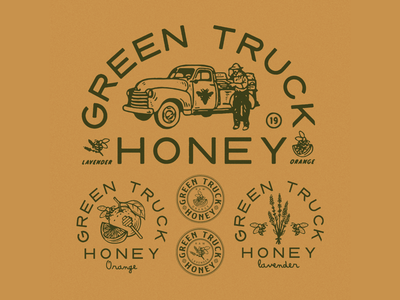 Green Truck Honey vintage typography type packaging packagedesign logo lettering illustration illust graphicdesign graphic direction design branding artwork art