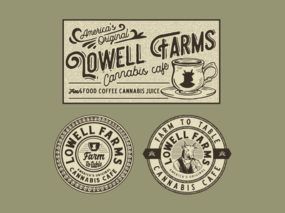Lowell Farms Cannabis Cafe vintage typography packaging packagedesign logo lettering illustration illust graphicdesign graphic direction design branding artwork art