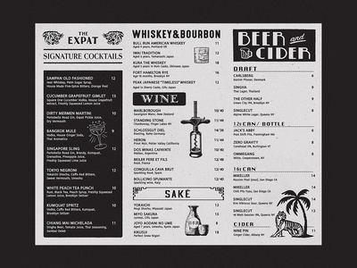 Menu design for The Expat
