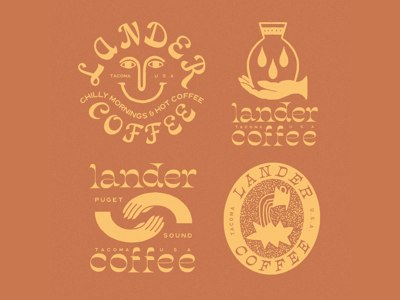 Lander Coffee packaging illust direction artwork art vintage packagedesign graphicdesign logo typography lettering branding graphic design illustration