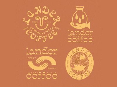 Lander Coffee packaging illust direction artwork art vintage packagedesign graphicdesign logo typography lettering branding graphic design illustration