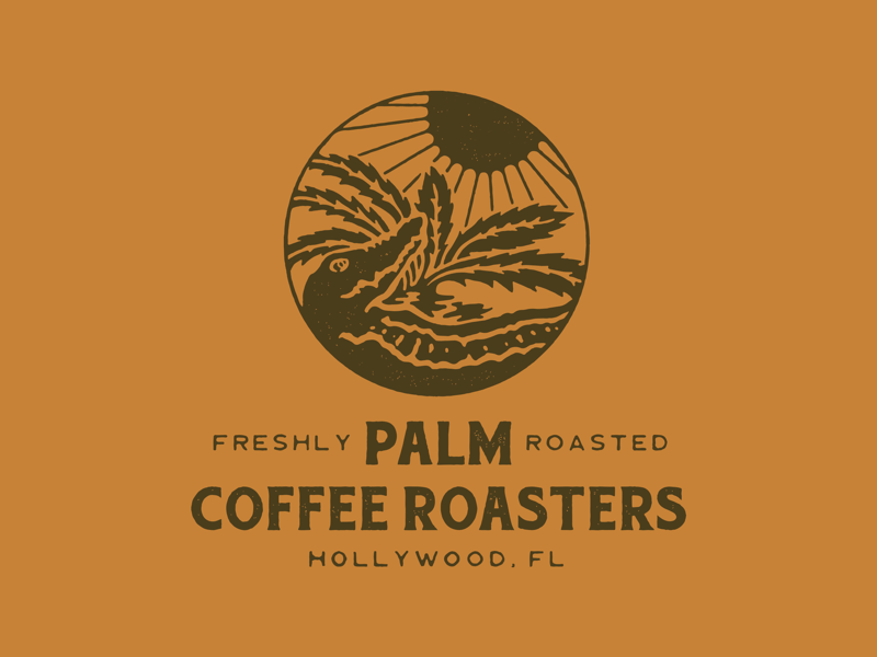 Palm Coffee Roasters packaging lettering direction artwork branding vintage packagedesign typography graphicdesign illustration design logo