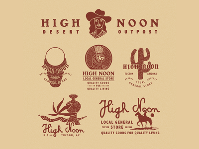 High Noon vintage typography logo lettering illustration illust graphicdesign direction graphic branding artwork