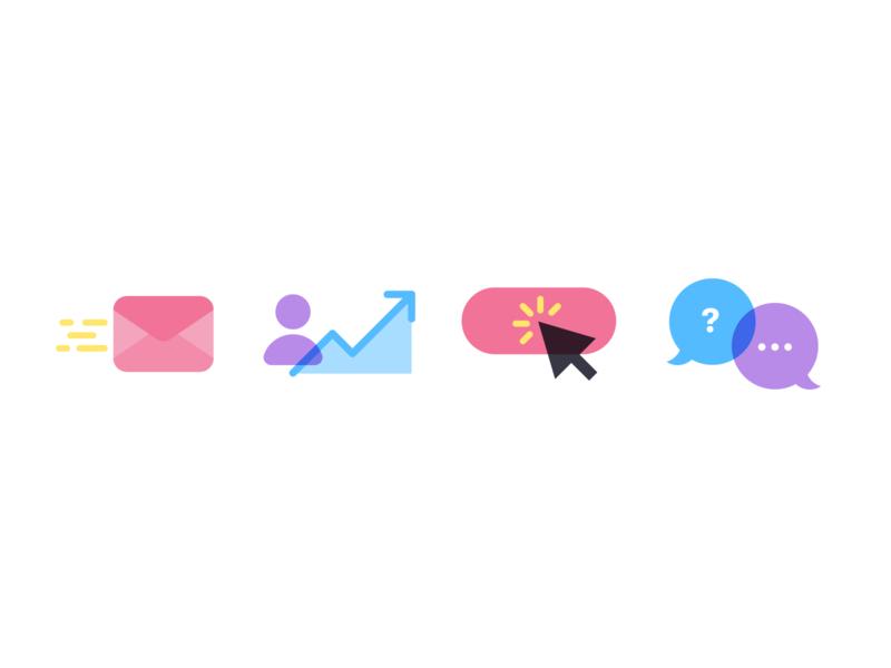 ✉️📈🐭💬 chat click marketing icons minimal flat illustration