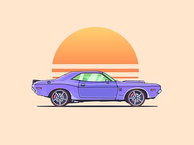 Classic 1970 Dodge Challenger design dodge challenger dodge classic car graphic design illustration art colors graphic art art car illustration illustrator illustration
