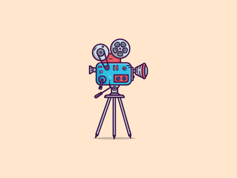 A simple old school movie camera minimal client work old school camera movie retro vintage art illustrator graphic art illustration art graphic design colors illustration