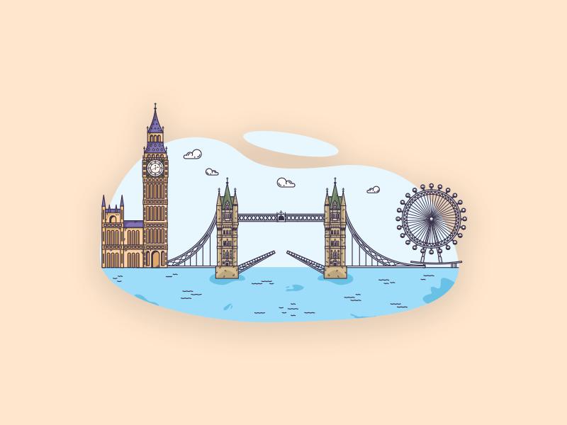 Things from past # 5 : London City illustrator client work city life london city london bridge big ben london eye london flat illustration art graphic design graphic art illustration art illustration