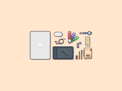 Things from past # 6 : Design Essentials graphic art wristwatch iphone 5 essentials notebook wacom color palette pantone macbook air macbook personal project flat illustration design warm colors colors illustrator illustration art graphic design illustration