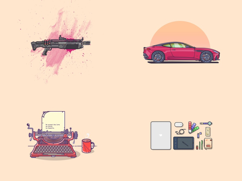 Top 4 of 2018 ( Well it's been a month only ) vector icon vintage top 4 essentials pen iphone notebook wristwatch macbook typewriter fortnite aston martin minimal flat illustration illustrator illustration art graphic art graphic design illustration