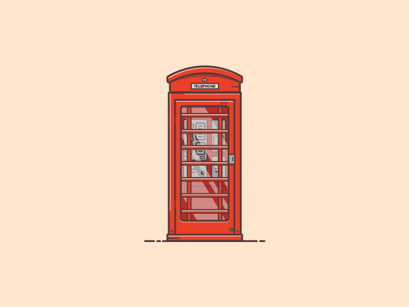 Things from past # 18 : Phone Booth colors ui logo warm colors london british england phone retro phone booth icon vintage minimal flat illustration illustrator illustration art graphic art graphic design illustration