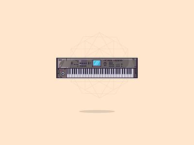 A piano keyboard geometric geometric design logo vector icon illustrator colors minimal flat illustration illustration art graphic art yamaha keyboard electronica electronic music music electronic piano graphic design illustration